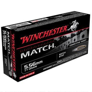 Winchester Match 5.56 NATO Ammunition 200 Rounds, BTHP, 77 Grains