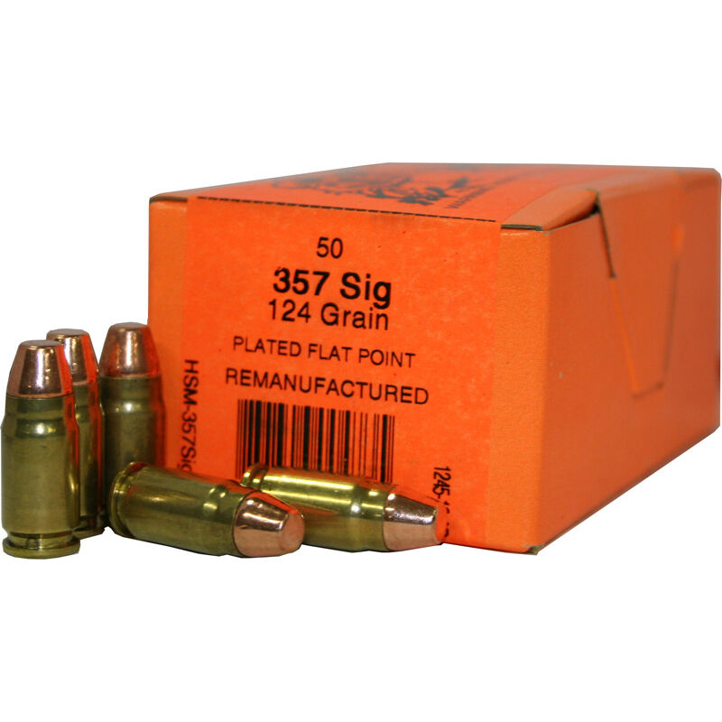 HSM .357 SIG 50 Rounds Remanufactured Training Ammunition 124 Grain Plated Flat Point 1360fps