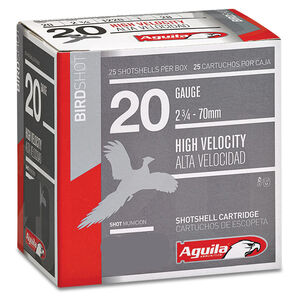 "Aguila High Velocity Field 20 Gauge Ammunition 25 Rounds 2-3/4"" Length 1 Ounce #8 Shot 1220fps"