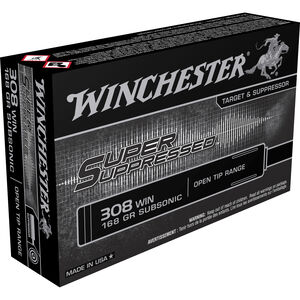 Winchester Super Suppressed .308 Win Ammunition 168 Grain Open Tip Range Bullet Subsonic 1