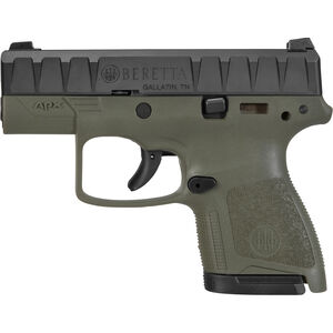 "Beretta APX Carry 9mm Luger Semi Auto Pistol 3"" Barrel 8 Rounds Ergonomic Modular OD Green Polymer Grip Frame Black"