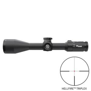 SIG Sauer Whiskey5 2.4-12x56 Riflescope Illuminated Hellfire Triplex Reticle 30mm Tube .25 MOA Adjustment Second Focal Plane Black Finish