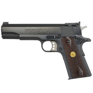 "Colt Gold Cup Series 1911 National Match Government Model .45 ACP Semi Auto Pistol 5"" Barrel 7 Round Adjustable Rear Sight Rosewood Grips Blued Finish"