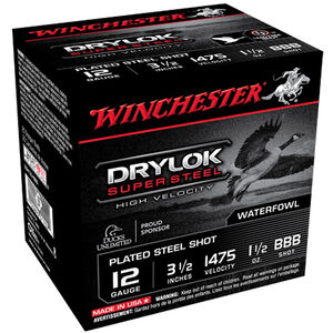 "Winchester Drylok 12 Ga 3.5"" BBB Steel 1.5oz 250 Rounds"
