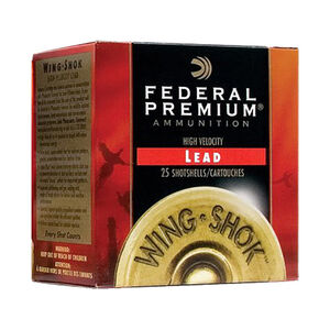 "Federal 20 Gauge Ammunition 250 Rounds 3.00"" Wing-Shok #4 Lead 1.25 oz."