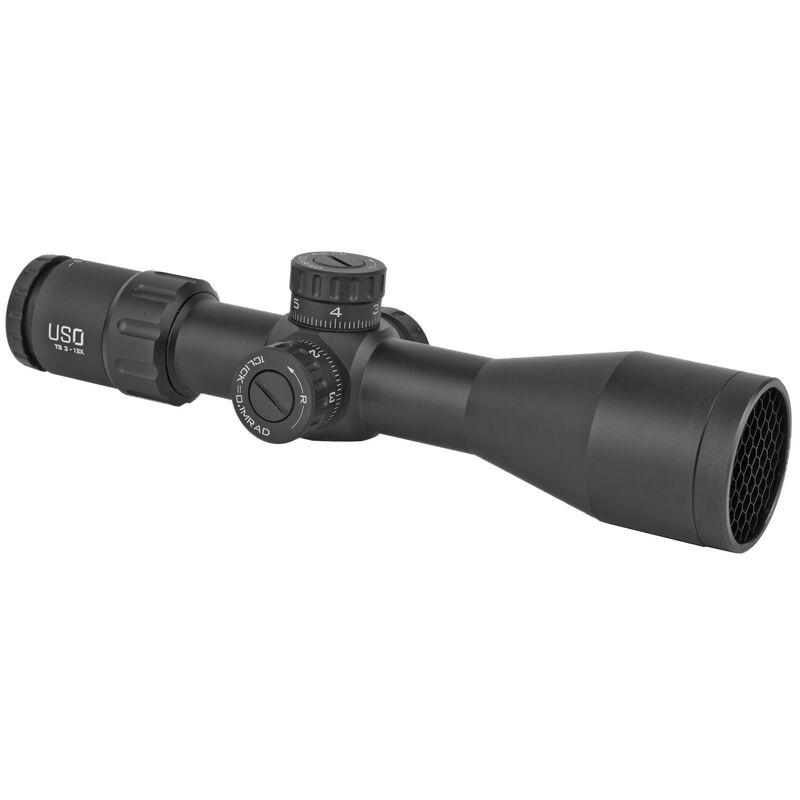 US Optics TS Series 3-12x44 SFP Riflescope Triplex Reticle 30mm Tube 0.1 MRAD Adjustable Parallax Non Illuminated Aluminum Black TS-12X SFP