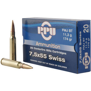 Prvi Partizan PPU Metric 7.5x55 Swiss Ammunition 20 Rounds 174 Grain FMJ BT 2525fps