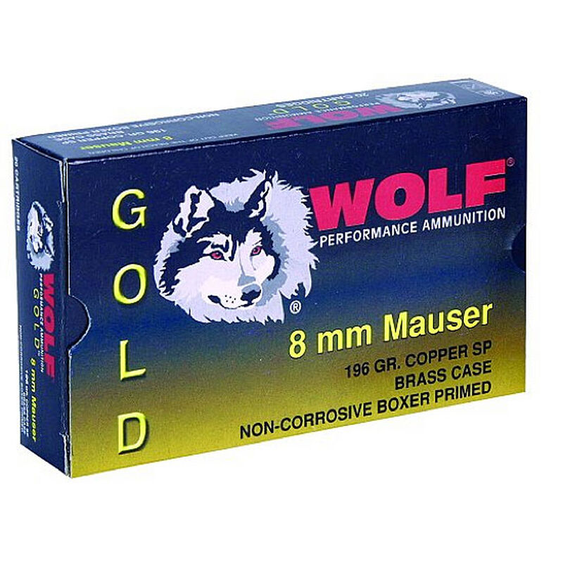 Ammo 8x57 Wolf Gold SP 196 grain 20 Round Box 25 Boxes for 500 Round Case  Boxer Primed Brass Cased