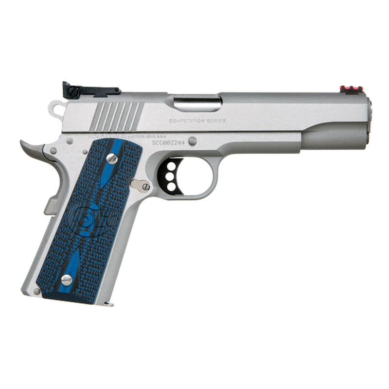 """Colt 1911 Gold Cup Lite .45 ACP Semi Auto Pistol 5"""" National Match Barrel 8 Rounds Fiber Optic Front Sight Bomar Style Rear Sight Colt G10 Grips Brushed Stainless Steel"""
