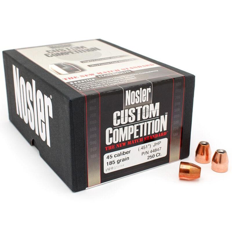 "Nolser .45 Caliber .451"" Diameter 185 Grain Jacketed Hollow Point Custom Competition Pistol Bullets 250 Count 44847"