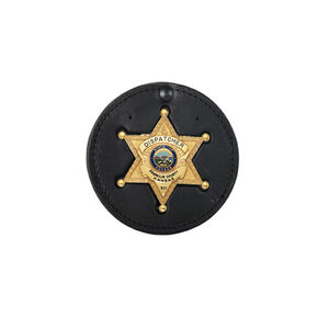 "Boston Leather 3.75"" Circle Recessed Badge Holder with Clip Leather Black 600-5011"