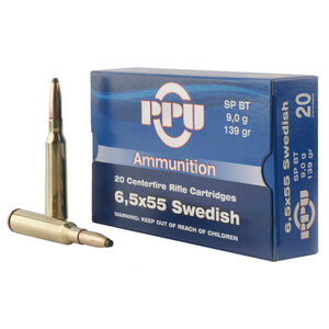 Prvi Partizan PPU 6.5x55 Swedish Ammunition 20 Rounds 139 Grain Soft Point Boat Tail 2540fps