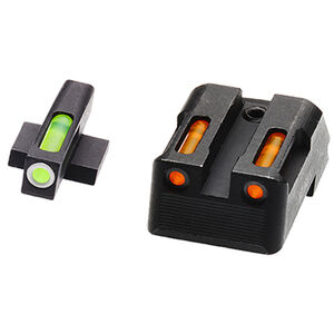 HiViz Litewave H3 Tritium/Litepipe fits Kimber 1911 Models Green Front Sight with White Front Ring/Orange Rear Sight Steel Housing Matte Black
