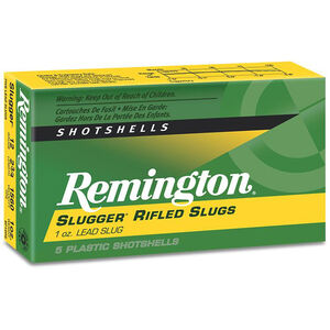 "Remington Slugger Rifled Slug 12 Gauge 2.75"" 5 Rounds 1 ounce, 1680fps S12SRS"