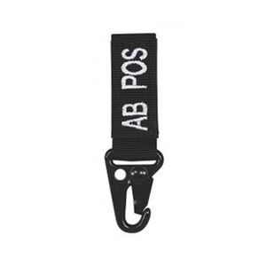 Voodoo Tactical Embroidered Blood Type Tag A Pos Black with Snap Hook and Velcro