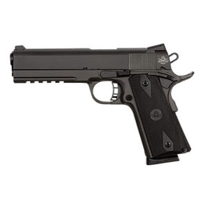 """Rock Island Armory 1911 Tactical Rail Semi Automatic Pistol .45 ACP 5"""" Barrel 8 Rounds Synthetic Grips Parkerized Finish 51484"""
