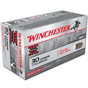 Winchester Super X .30 Carbine Ammunition 50 Rounds Hollow SP 110 Grains X30M1