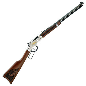 """Henry Salute To Scouting Edition Lever Action Rifle .22 LR 20"""" Octagonal Barrel 16 Rounds Engraved Nickel Receiver Walnut Stock Blued H004STS"""