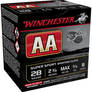 "Winchester AA Sporting Clays 28 Gauge Ammunition 25 Round Box 2 3/4"" #8 Shot 3/4 Ounce 1300 fps"