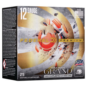 "Federal Gold Medal Grand Plastic 12 Gauge Ammunition 25 Rounds 2-3/4"" Shell #7.5 Shot Size .85 Ounce 24 Grams 1335fps"