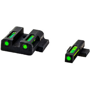 HiViz LITEWAVE H3 S&W M&P Green Tritium Fiber Optic Night Sight Set Steel Black
