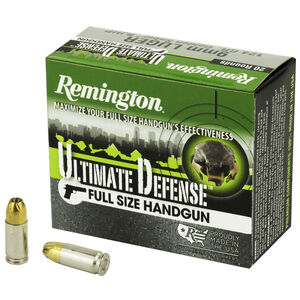 Remington Ultimate Defense 9mm Luger Ammunition 20 Rounds 124 Grain Bonded JHP 1125fps