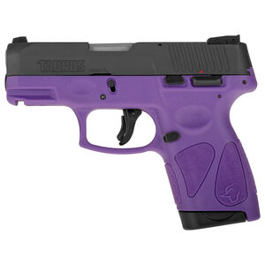 "Taurus G2S Slim 9mm Luger Semi Auto Pistol 3.2"" Barrel 7 Rounds 3 Dot Sights Matte Black Slide/Dark Purple Frame"