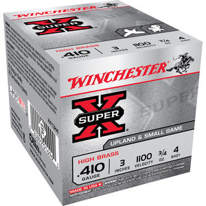 "Winchester Super X Game Load .410 Bore Ammunition 250 Rounds 3"" #4 Lead 0.75 Ounce X413H4"