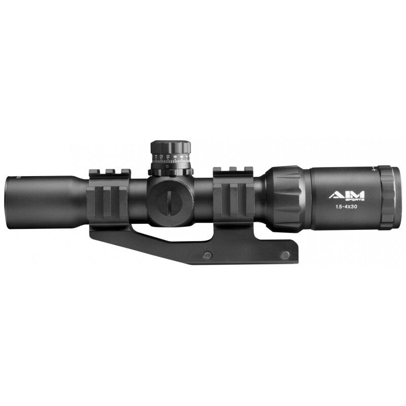 AIM Sports Recon Series 1.5-4x30 CQB Rifle Scope Illuminated Circle Green/Red/Blue Reticle 1/2 MOA Adjustment Matte Black