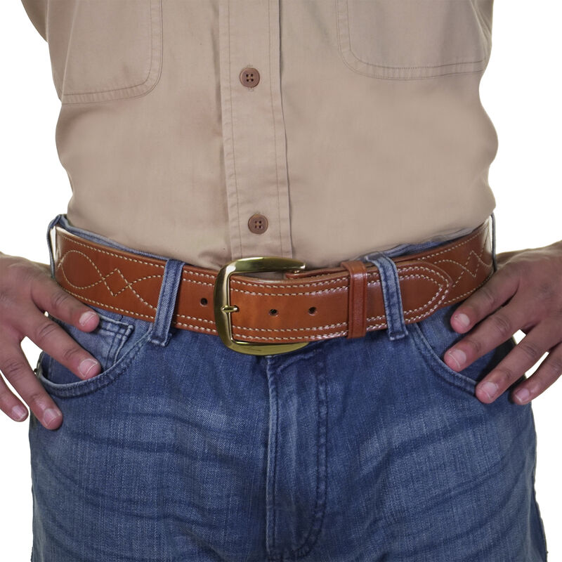 """Galco Fancy Stitch Belt 1-3/4"""" Wide Solid-Brass Casual Buckle Leather Size 40 Tan"""