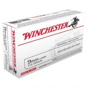 Winchester USA 9mm Luger Ammunition 500 Rounds, JHP, 115 Grain