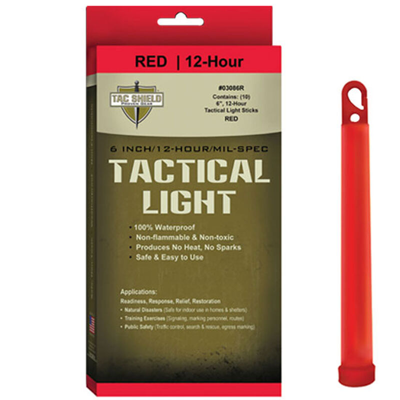 """Tac Shield Tactical Light Sticks 6"""" Length Package of 10 Red 03086R"""