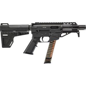 "Freedom Ordnance FX-9 9mm Luger Semi Auto Pistol 4"" Barrel 31 Rounds Uses GLOCK Style Magazines Aluminum Construction Shockwave Pistol Brace Black"