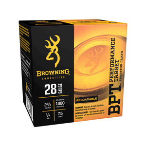 "Browning BPT 28 Gauge Ammunition 250 Rounds 2-3/4"" #7.5 Lead Shot 3/4 Ounce"