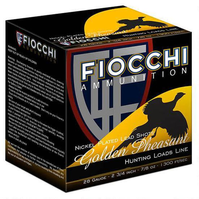 """Fiocchi Golden Pheasant 28 Gauge Ammunition 2-3/4"""" #6 Plated Lead 7/8oz 1300fps"""
