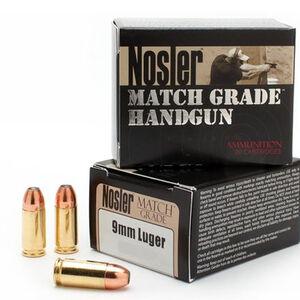 Nosler Match Grade Handgun 9mm Luger Ammunition 20 Rounds 147 Grain Custom Competition JHP 880 fps