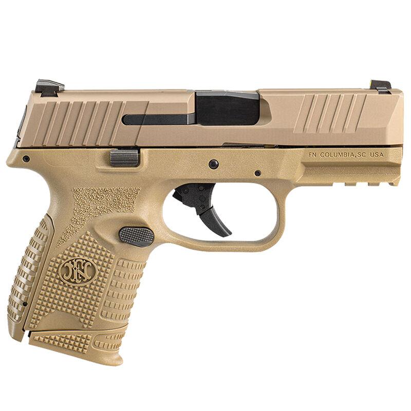 "FNH Compact 9mm Sub-Compact Semi Auto Pistol 3.7"" Barrel 15 Rounds Ambidextrous Controls Polymer Frame Flat Dark Earth"