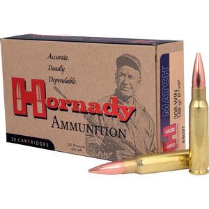 Hornady .308 Winchester Ammunition 20 Rounds Match BTHP 168 Grains 8097