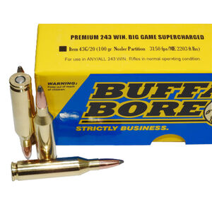 Buffalo Bore .243 Winchester Ammunition 20 Rounds NP 100 Grains