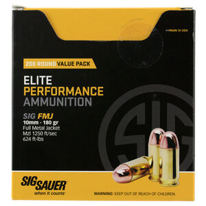 SIG Sauer Elite Performance 10mm Auto Ammunition 200 Rounds 180 Grain Full Metal Jacket 1250fps