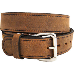 """Versacarry Double Ply Belt 1.5"""" Exotic Water Buffalo Nickel Plated Buckle Size 42 Distressed Brown 502/42"""