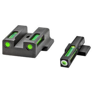 Hi-Viz LiteWave  H3 S&W M&P Shield 9 EZ Green Fiber Optic Tritium Front And Rear Sight Set Steel Black