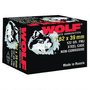 Wolf Performance 7.62x39 Ammunition 122 Grain Bi-Metal FMJ Steel Case 2362 fps 20 Rounds