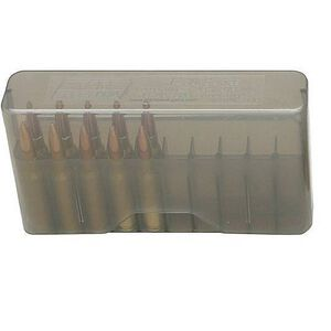 MTM Case-Gard J-20 Series Rifle Ammo Box Extra Small Rifle Holds 20 Rounds Clear Smoke J-20-XS-41