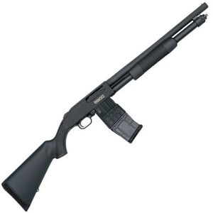 "Mossberg 590M Mag-Fed Pump Action Shotgun 12 Gauge 2-3/4"" Chamber 18.5"" Heavy Walled Barrel 10 Round DBM Synthetic Stock Matte Black"