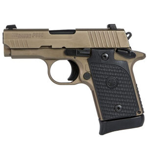 "SIG Sauer P938 Emperor Scorpion Semi Auto Pistol 9mm Luger 3"" Barrel 6 Rounds SIGLite Night Sights G10 Black Garolite Grips Alloy Frame Flat Dark Earth Finish"