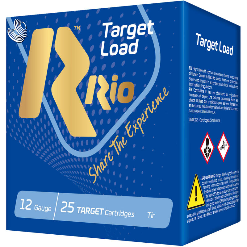 "RIO Ammunition Target Load Trap Light HC-32 12 Gauge Ammunition 250 Rounds 2-3/4"" Shell #8 Lead Shot 1-1/8oz 1150fps"