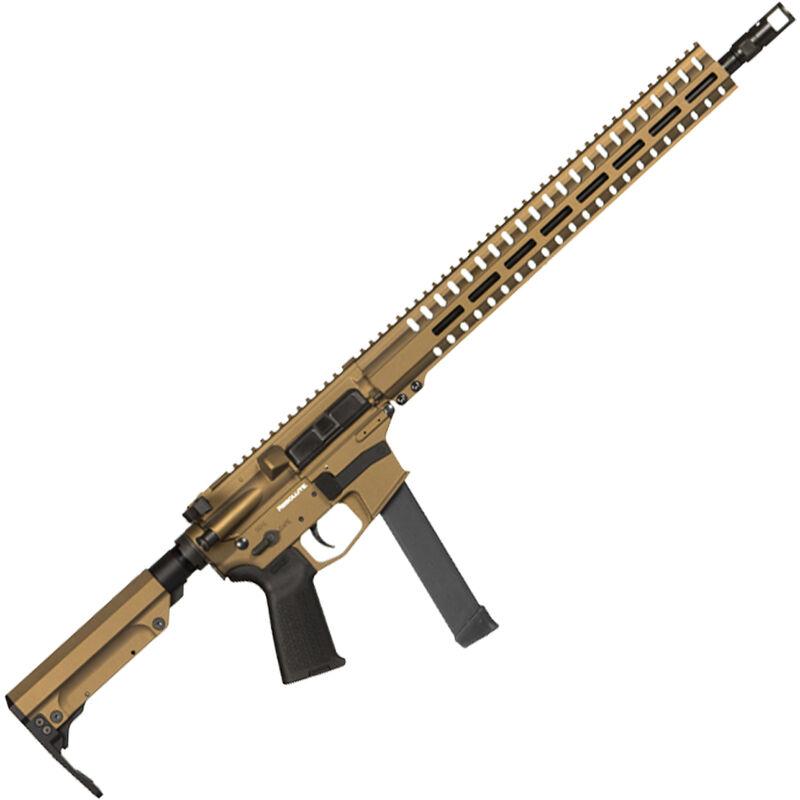 "CMMG Resolute 300 MkGs 9mm Luger AR-15 Semi Auto Rifle 16"" Barrel 33 Rounds Uses GLOCK Style Magazines RML15 M-LOK Handguard RipStock Collapsible Stock Burnt Bronze Finish"