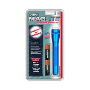 Maglite Mini MagLite Flashlight 14 Lumen AA Battery Twist Cap Switch Aluminum Blue Belt Holster Nylon Black M2A11H