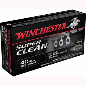 Winchester Super Clean .40 S&W Ammunition 50 Rounds, Lead Free FMJ, 120 Grain